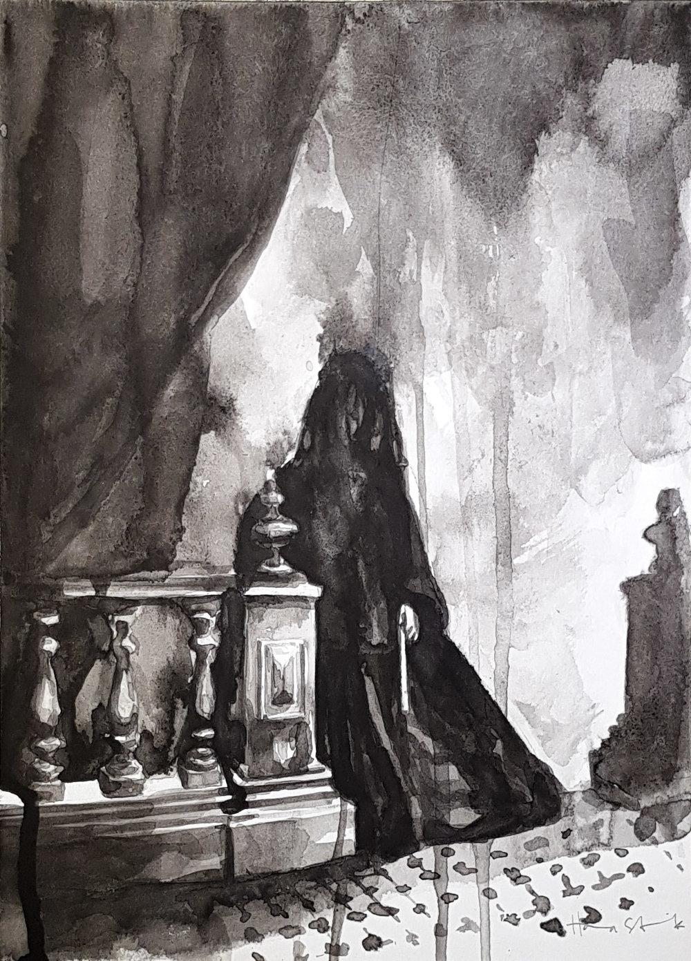 Woman in Black - Tusch på papper900:-