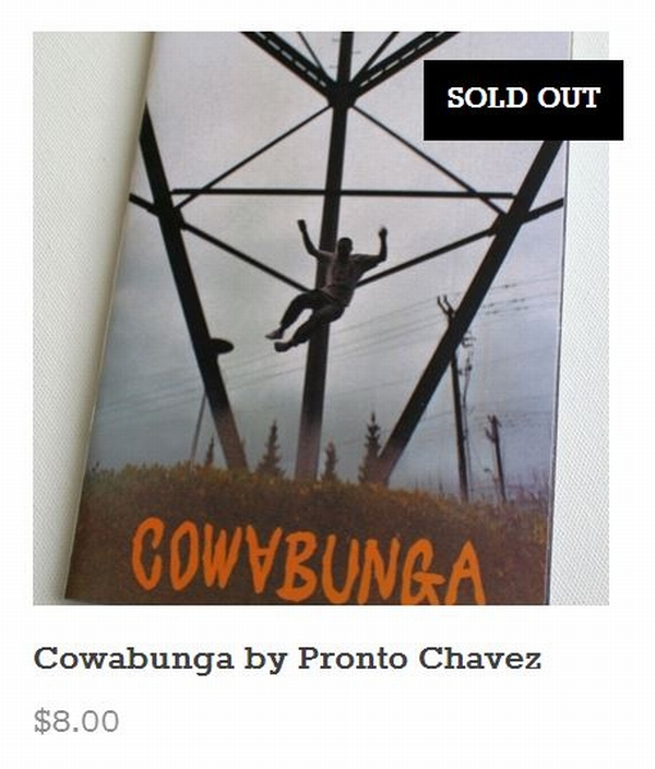 Pronto's debut zine, Cowabunga sold out- just like that! Thanks, y'all!   Lots of our other titles are running low too, FYI::   NIGHTED.Storenvy.com