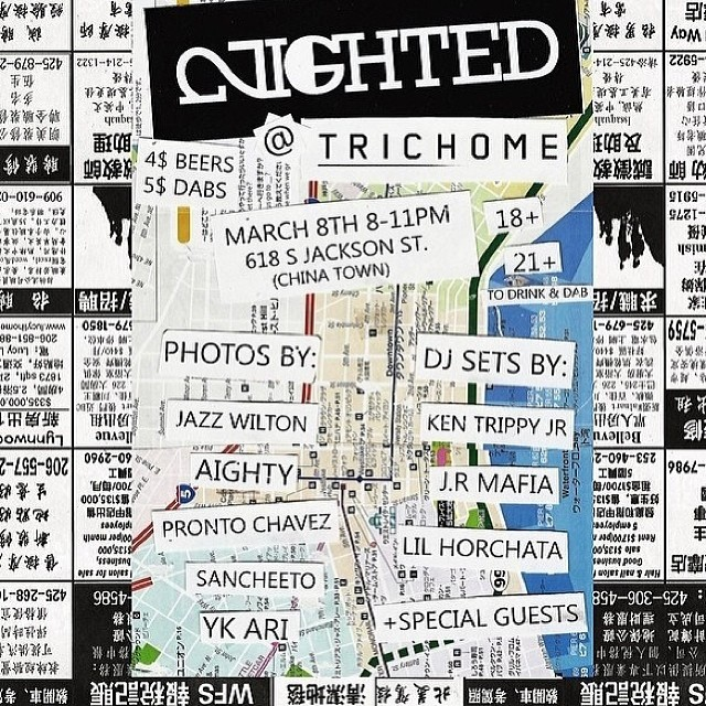 Seattle- this Saturday come thru @trichomeseattle for new #NIGHTED photos, dj sets and more! #dabs #beer