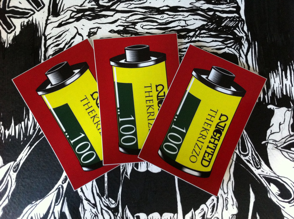 """thekrizzo :      [ 1Hunnid ]   The Krizzo  x  Nighted  vinyl print sticker pack.    2"""" x 3""""    Limited quantity.  Available   here!"""