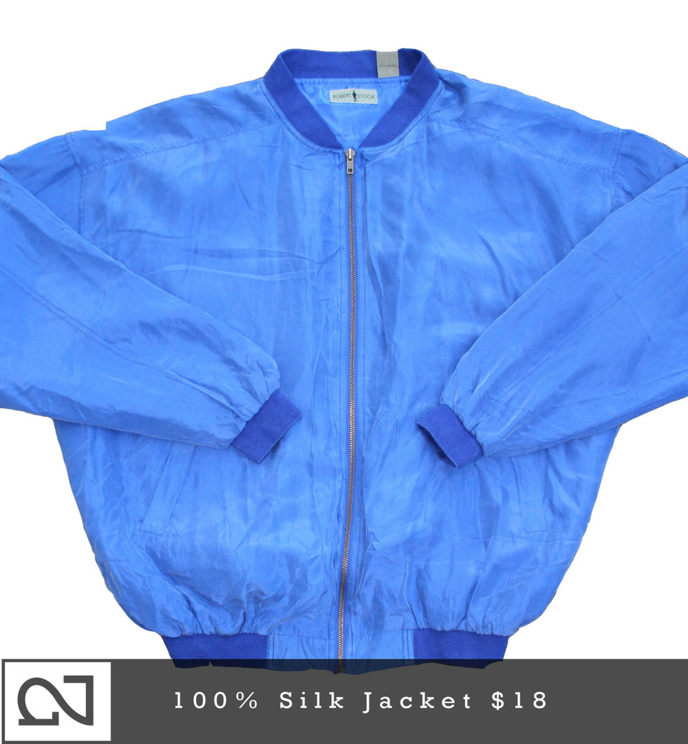 *Nighted Finds*     It's always a good time to get a  100% Silk Jacket .  Up now in the Nighted Store .     (one rare piece of thrifted attire every Sunday)