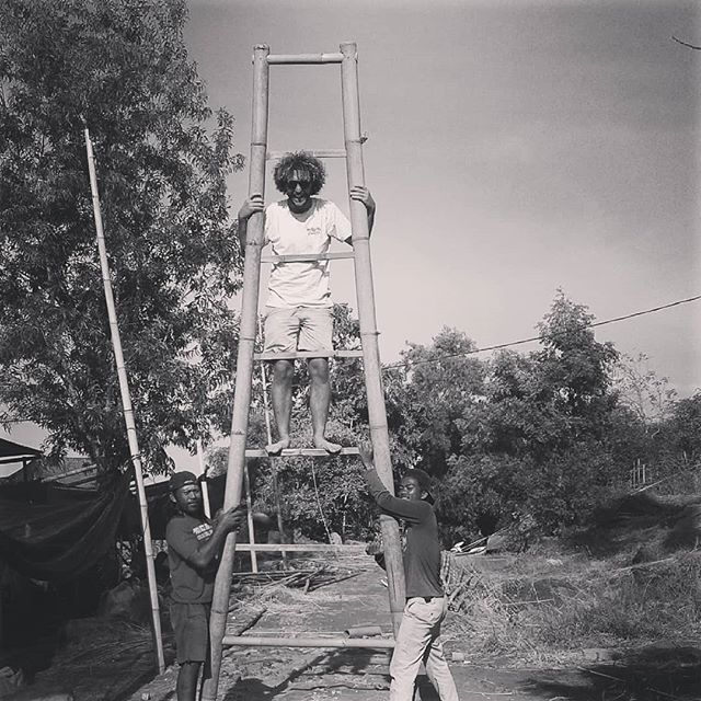 today we made a ladder to now where!!! bamboo life..#bali #bamboo