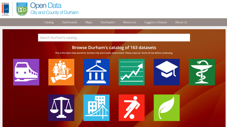 Open Durham   Launched with 162 public facing and over 500 internal facing data sets within 4 months.