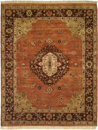 Rug #003557 Retail: $1,369.00 Sale: $958.00 Size: 4'x6' Color: Terracotta/Brown Hand Knotted Wool Made in India