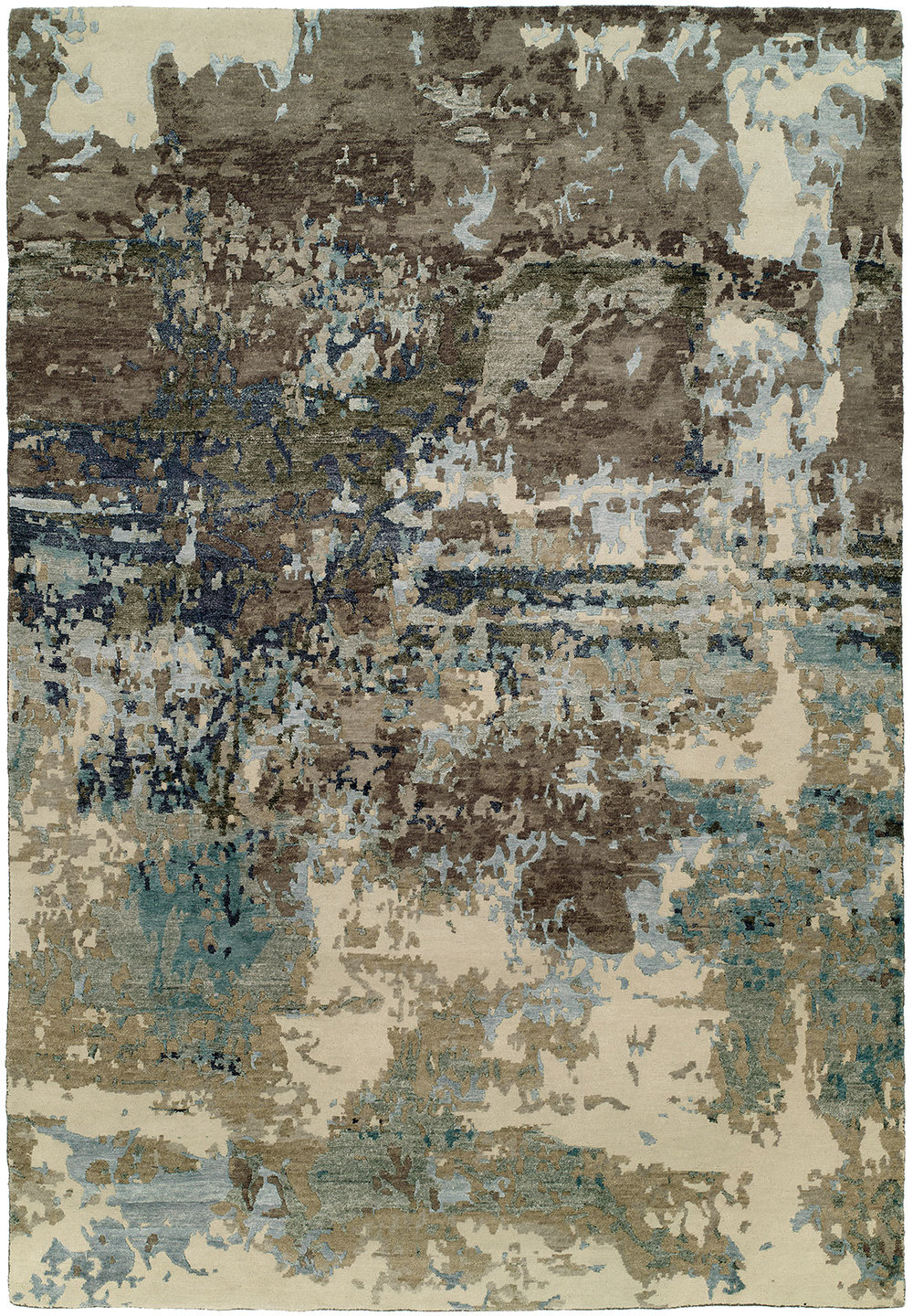 Rug #003720 Retail: $8806.00 Sale: $6164.20 Size: 9'x12' Color: Blue/Grey Wool & Silkette Made in India