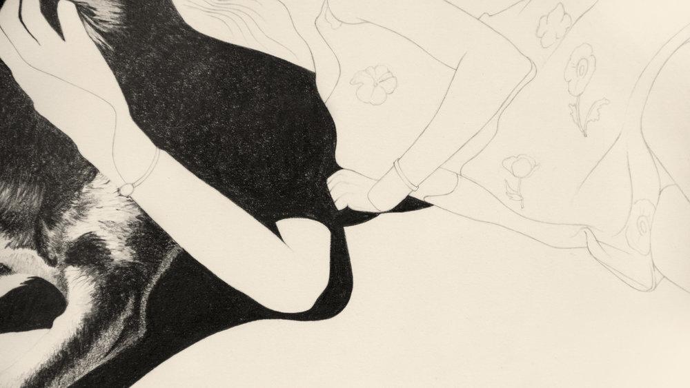 Saya & Jeanie, graphite