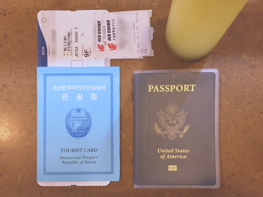 DPRK Tourist Card and Air Koryo boarding pass