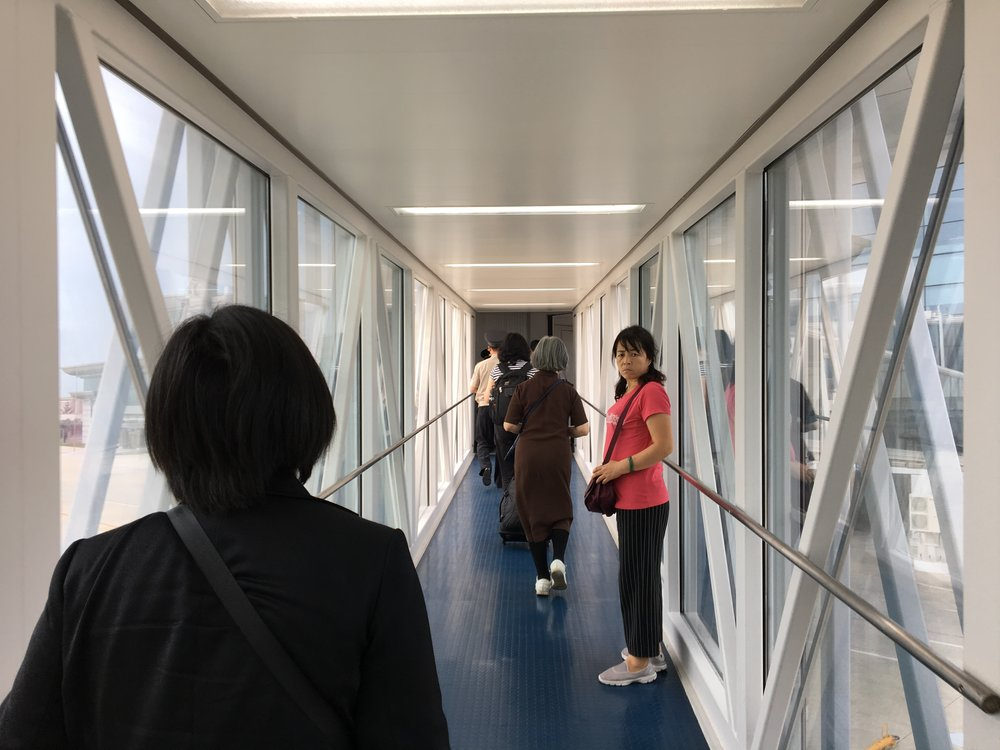 Confused Chinese tourists at Pyongyang Sunan International Airport