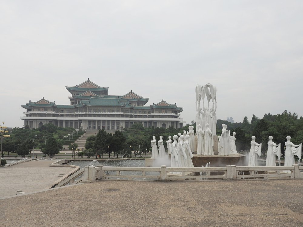 The famous fountain in Mansudae Park next to the Grand People's Study House