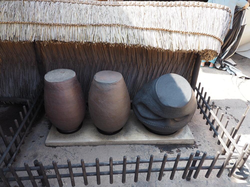 Deformed urns used for storing water