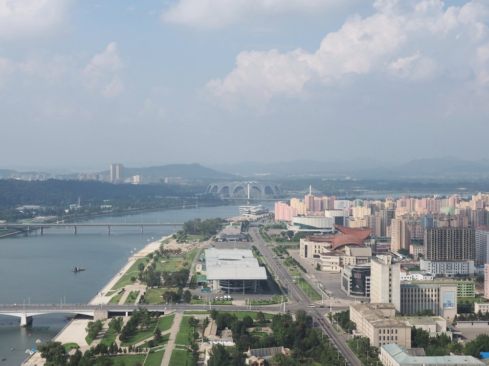 The Pyongyang Sports Stadium in the background