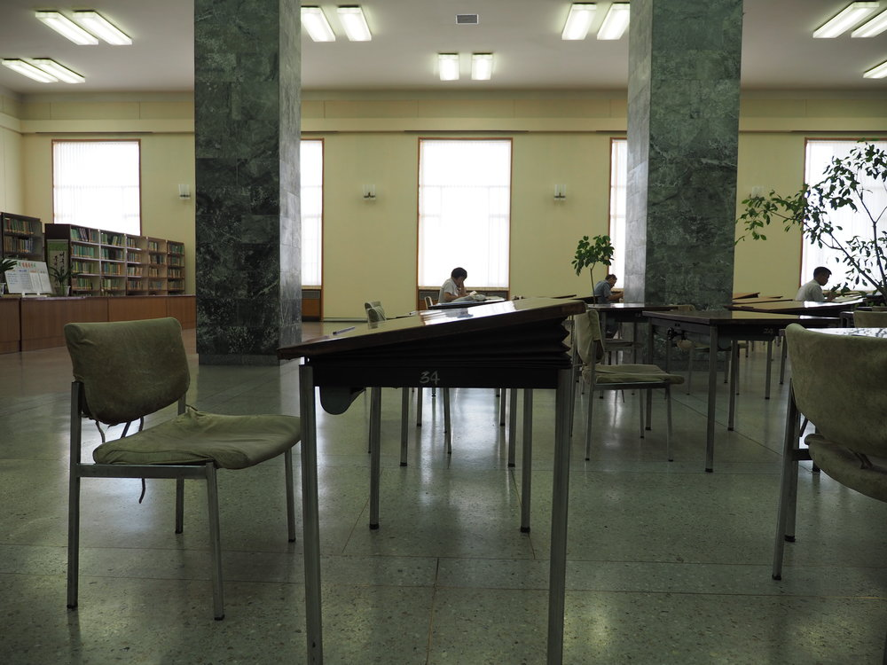 Height and tilt adjustable desks said to be invented by Kim Il Sung