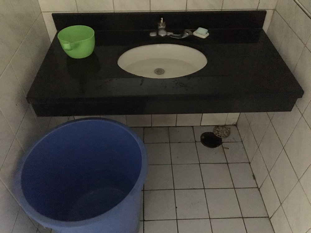 Rest area restroom with no running water