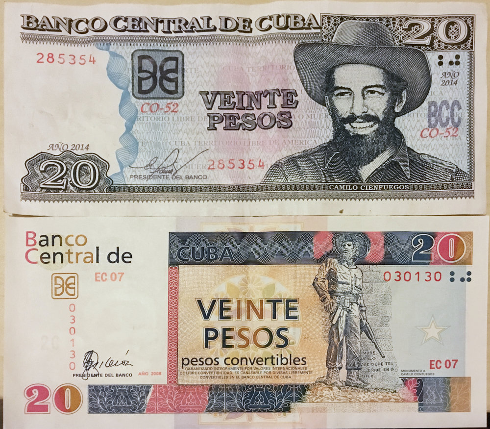 $20 Pesos Nacionales (CUP) top, vs. $20 Pesos Convertibles (CUC) bottom