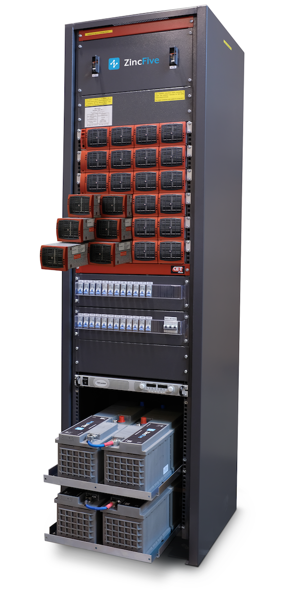 ZincFive UPS Model 48-3-208 with the nickel-zinc batteries and modular inverters in a single cabinet