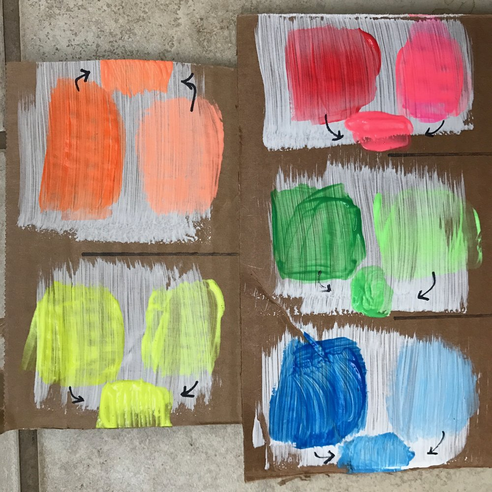 DAY 3 + 4 Sidewalk Color Camp: Neons on Cardboard — Orange Mommy + Co.
