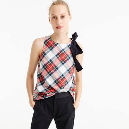 I love this top from J.Crew. The plaid gives it a festive winter look and the bow adds a nice accessorized look. Wear it with dark pants and you have the perfect outfit.