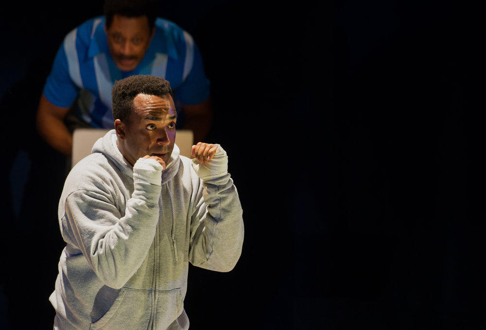 André G. Brown and Brace Evans in SCTs 2018 production of And in this Corner: Cassius Clay (Photos by Elise Bakketun)