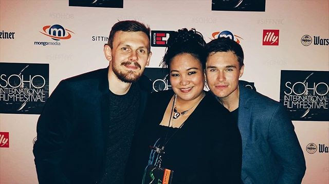 Writer, producer and actor @samunderwoodnyc & director @simsjamie with @sohofilmfest superstar @sibyl_santiago | #filmfestival #shakespearelives #shakespeareonfilm #samunderwood #opheliafilm #ophelia
