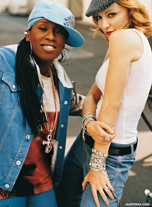 "Missy Elliot + Madonna on set at the ""In the Groove"" commerical."