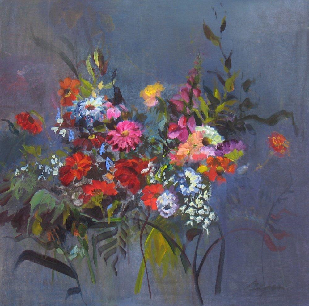"""""""Zinnias and Phlox: 30""""H x 30""""W. Acrylic on Canvas. $1500"""