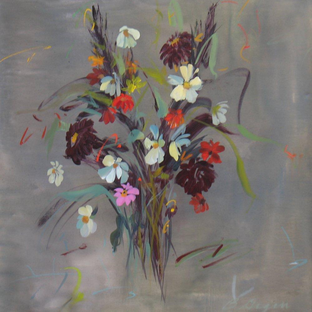 """Zinnias and Cosmos"" 30""H x 30""W. Acrylic on Canvas. $1500"