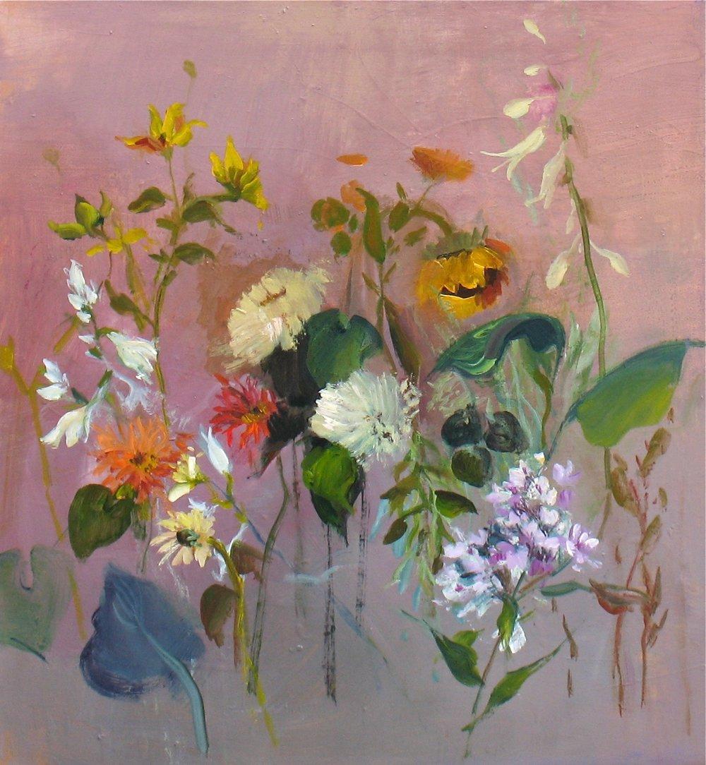 """Zinnias and Sunflowers"" 28""H x 26""W. Acrylic on Canvas. $1200"