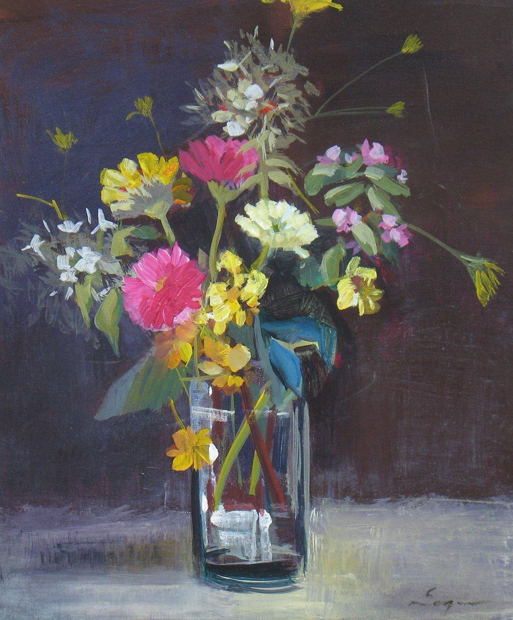 """""""Zinnia Bouquet"""" 20""""H x 16""""H. Acrylic on Canvas. $750"""