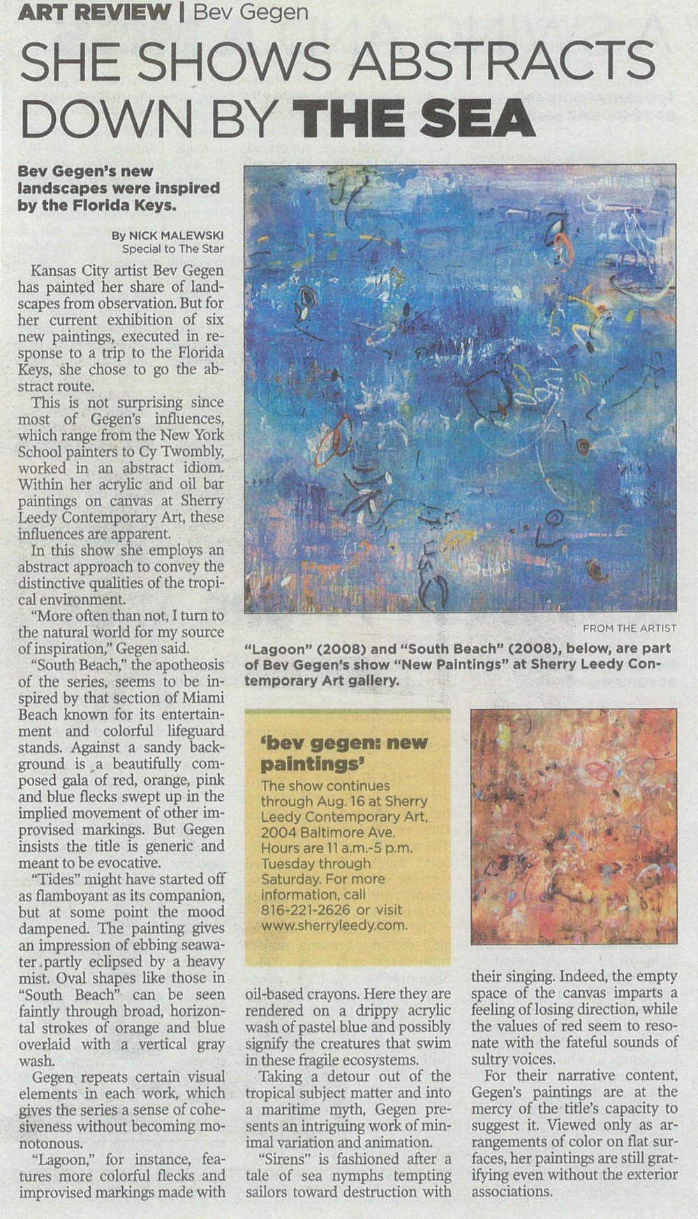 Kansas City Star. Art Review. July 24, 2008