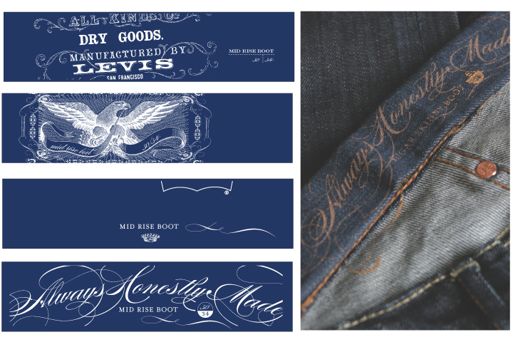 Interior Bottoms Label Interior label design for the middle tier denim line to be implemented on products globally.