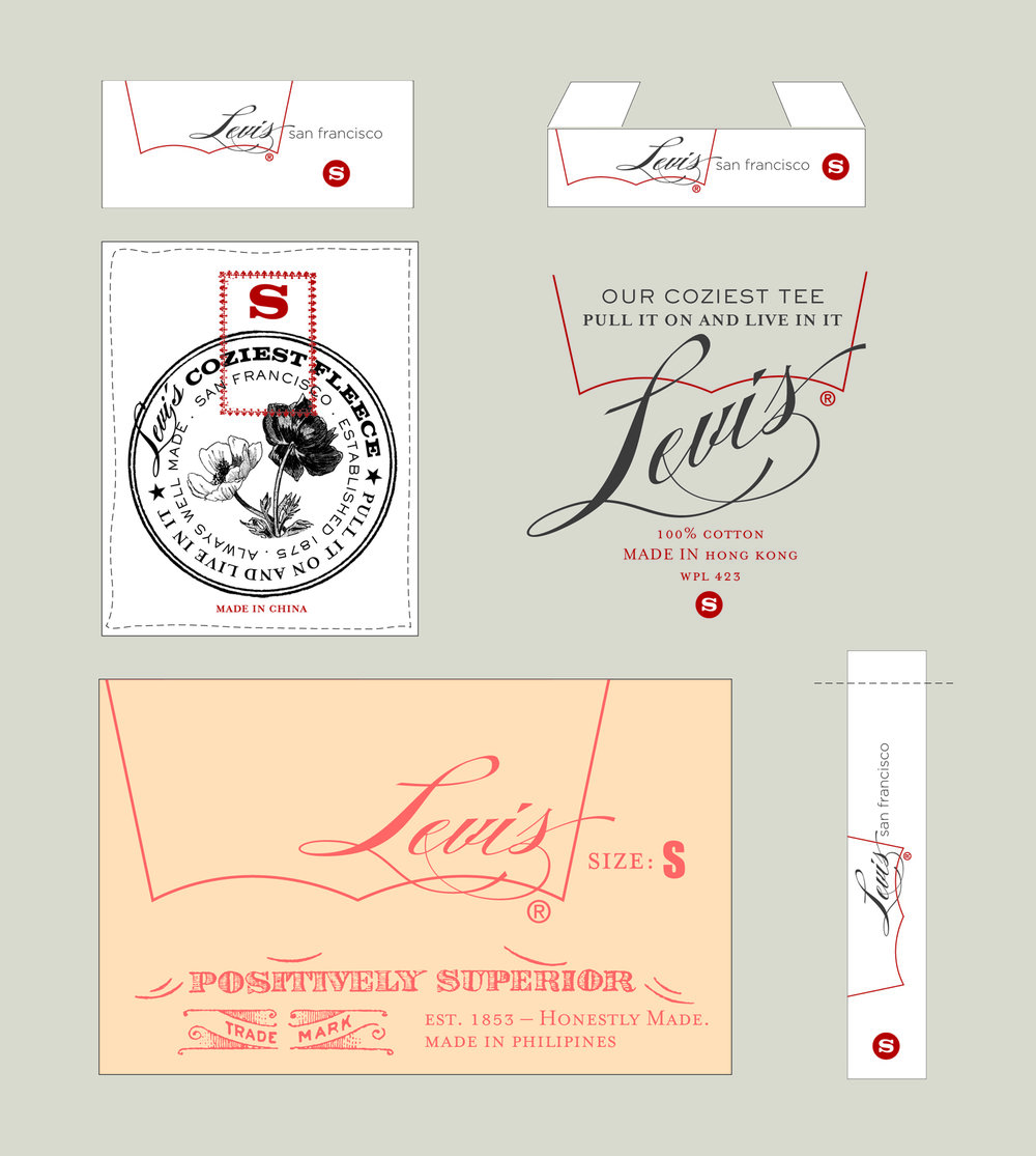 Premium Line Internal Label Design for Levi's highest tier brand interior labels. Additional artwork created to be used as stamps / prints for pocketbag placement.