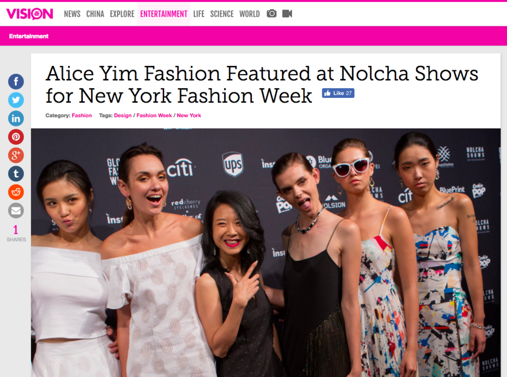 Vision Times - Alice Yim Fashion Featured at Nolcha Shows for New York Fashion Week