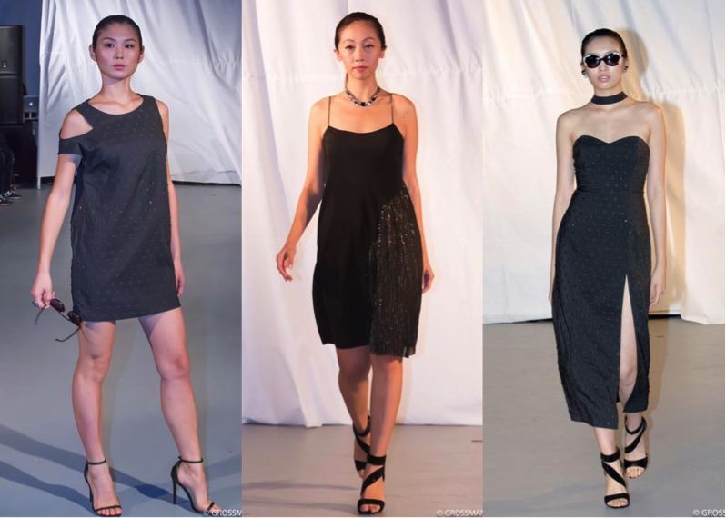 (Left to Right): Caroline wears Geo-shift dress; Lilly wears black strap dress; Lauren wears knee-length, cocktail dress.