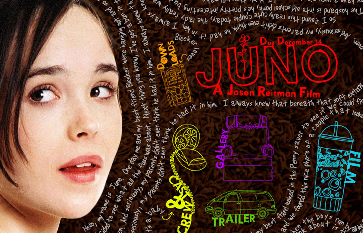 Juno – the handwritten words are fictional diary entries