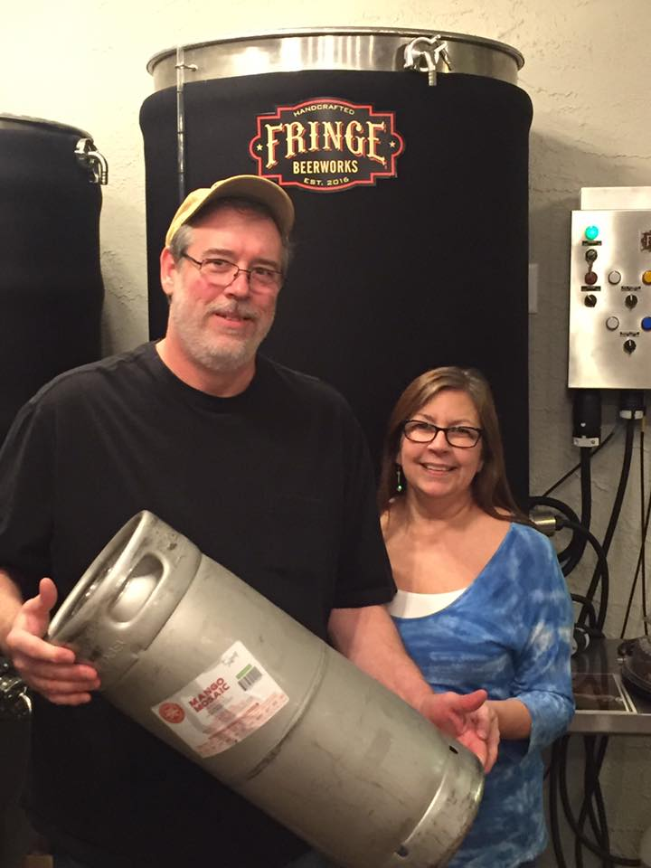 Duane and Dreama R. finished off the  Mango Mosaic. We blew so many kegs today, I lost track of what was put on. —  Fringe Beerworks