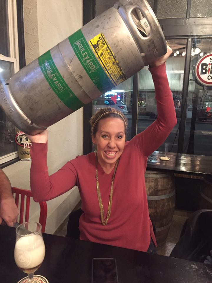 Marla C. finally got her keg.  Boulevard Brewing Kolsch off,  Ballast Point  Peanut Butter Victory At Sea on. —  Fringe Beerworks