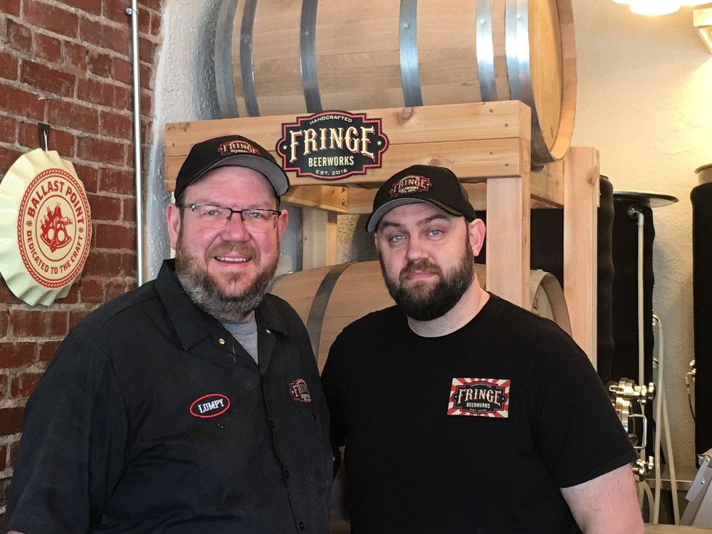 Fringe Beerworks co-founders Mark Myers (left) and Eddie Pease.