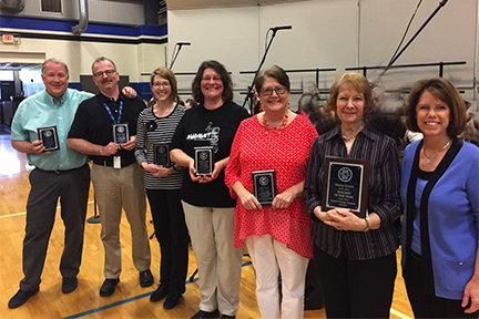 SCA 2017 Teacher of the year finalists are: (from left) Mr. Greg Finch, Mr. Matt Shelton, Mrs. Angy Bounds, Mrs. Trissa Lucht, Mrs. Ruth Terry, and 2017 Teacher of the Year Mrs. Verna Green.