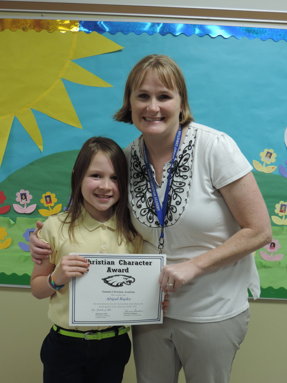 SCA second grade student Abbey Rapley, pictured with SCA Elementary Vice-Principal Charissa Sanders, received an elementary Christian Character Award for fourth quarter.