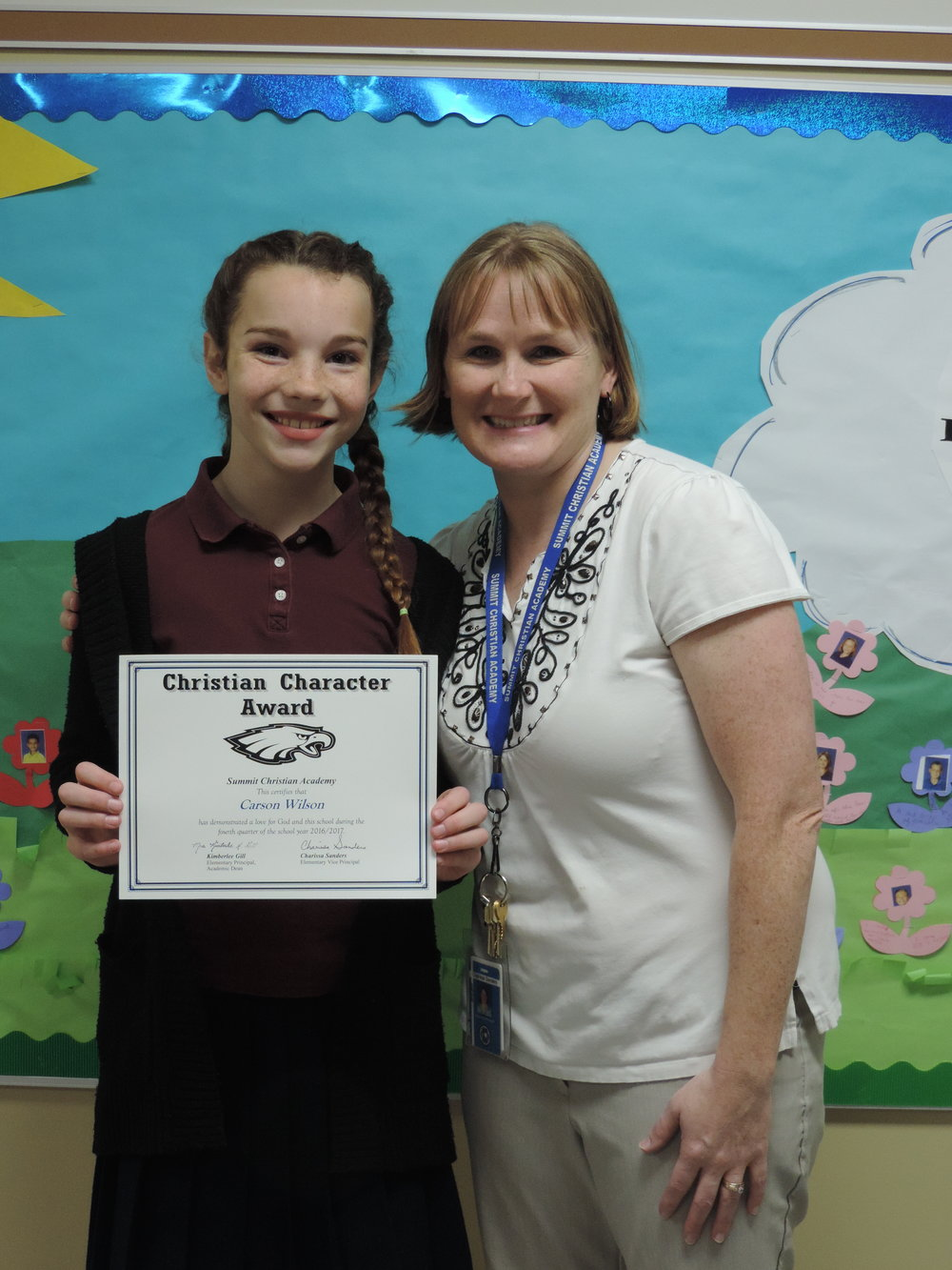SCA sixth grade student Carson Wilson, pictured with SCA Elementary Vice-Principal Charissa Sanders, received an elementary Christian Character Award for fourth quarter.