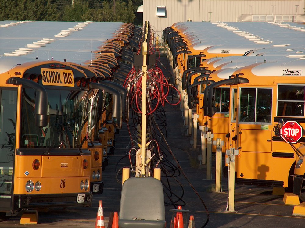 Buses parked at the slow fill stations.