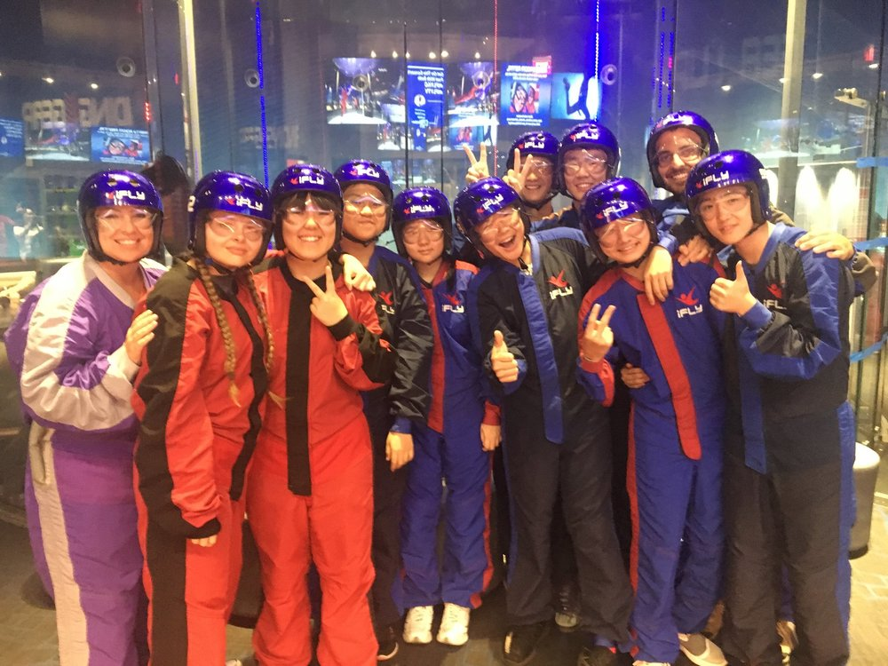 Chinese students took a dive at iFly as part of SCA's English Immersion Camp.