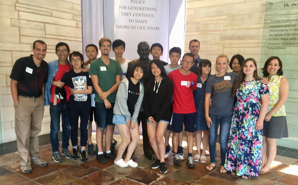 Chinese students and their English instructors toured the Harry S Truman Presidential Library and Museum, where they took part in the White House Decision Center student program.