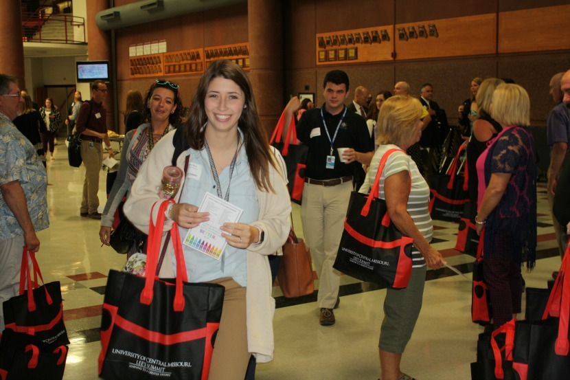 New teachers receive goody bags following the annual New Teacher Breakfast.