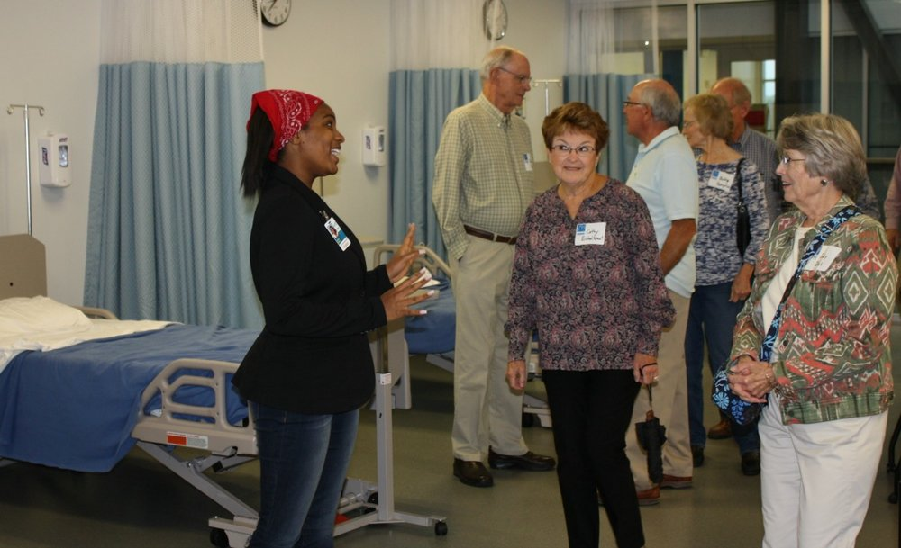 Senior citizens visit the nursing lab at the Missouri Innovation Campus.