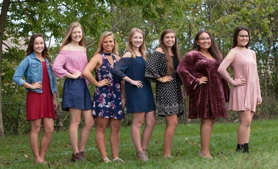 SCA 2017 Homecoming Candidates (from left to right) Freshman Princess Aleah Finnegan, Sophomore Princess Kate Lyle, Senior Queen Candidates Savanna Sallas, Kyla Brown, Glori Gronberg and Alley Brown, and Junior Princess Maddie Kiethley.