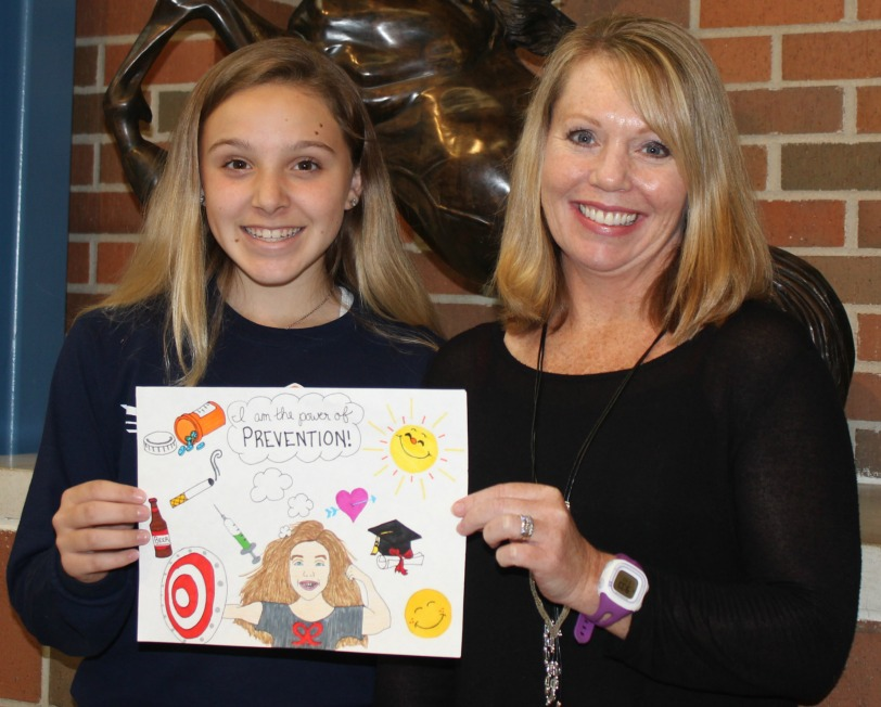 Logan Turner (left) with her teacher, Mrs. Lukowski.