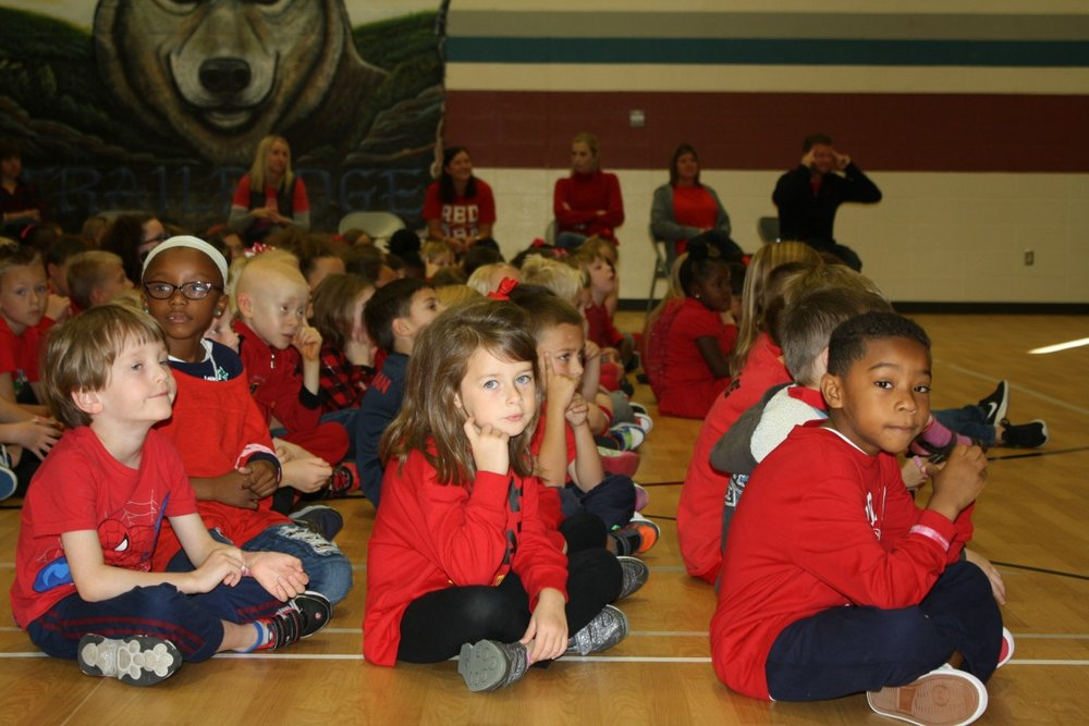 Trailridge Elementary students at the Red Ribbon Week kick-off.