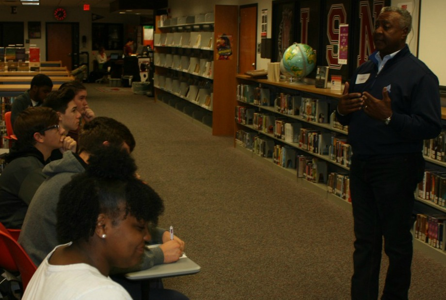 Frank White talks to LSNHS students enrolled in AVID — Link