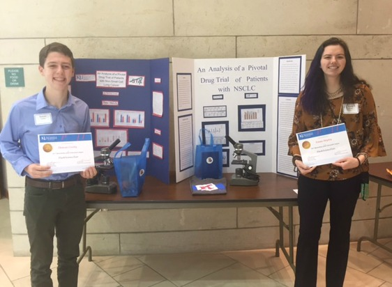 Duncan Crosby and Emma Shipley at the KU Edwards Campus Biotechnology Day. (photo courtesy LS R-7 Schools)